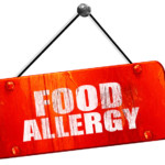 food allergy, 3D rendering, red grunge vintage sign